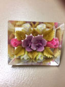 Rectangular shaped 1940's  Lucite Brooch   Carved with Flowers (SOLD)